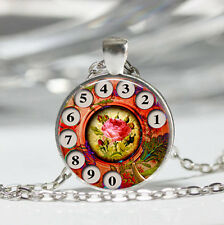 Phone Rotary Dial Tibet silver Dome Glass Cabochon Necklace chain Pendant #383