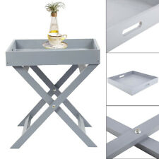 Butlers Tray Table Serving Wooden Movable Table Grey Serving Tray Drinks/Dinner