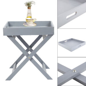 Butlers Tray Table Serving Wooden Movable Table Grey Serving Tray Drinks Dinner