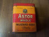 ANTIGUO Envase Lata cajetilla de CIGARRILLOS CIGARROS Astor Whole mostaza Seed