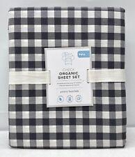 NEW Pottery Barn KIDS Organic Check FULL Sheet Set w/Pillowcases~Charcoal Gray