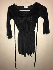 girls New 8-10 black Velvet Midnight Fairy Halloween Costume Dress Cord Ties @