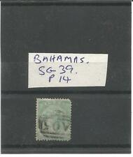 BAHAMAS USED STAMP SG39 ONE SHILLING GREEN PERF 14
