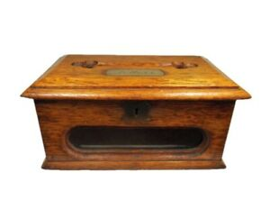 """Early Edwardian Oak Letter Box With Window and Brass Plaque """"Letters"""""""