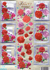 Pink & Red Rose Flower Dufex 3d Decoupage Paper Card Making Craft NO CUTTING REQ