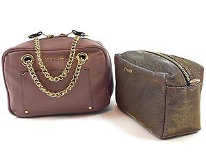 Innue Italian Blush Pink Leather Metal Gauze Reversible Camera Handbag & Purse