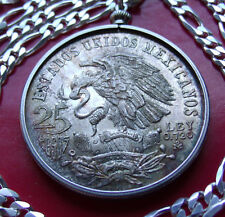 "1968 MEXICAN SILVER 25 PESO COIN Pendant 20"" 5.5MM ITALIAN SILVER 3&2 LINK CHAIN"