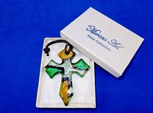 Glass Cross Charm/Pendant, Green/Gold/Silver, Murano Art Glass, Gift Box, #2910