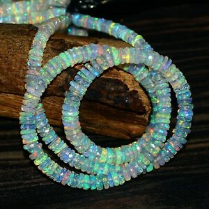 Natural Ethiopian Opal Faceted Heishi Beads,4-6mm Opal Heishi BeadsD78