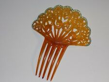 Large Vintage Amber Celluloid Hair Comb with Green Rhinestones
