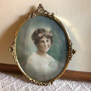 Antique Fancy Oval Bubble Convex Glass Metal Frame Picture Woman Wedding Vintage