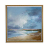 Nautical Painted Seascape Print in Oak Frame Wall Art Picture Home Decor