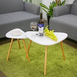 Set of 2 Triangle Side Coffee Nesting Tables Dining Lamp Tea Table Scandinavian