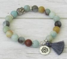 Amazonite mala Buddhist meditation prayer bracelet tassel yoga gemstone beaded