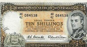AUSTRALIA TEN SHILLING P-33 CU BANKNOTE!!..STARTS@ 2.99