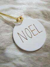 New Ceramic Baubles Christmas Decoration White & Gold Set of 3