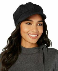 Nine West Wool Boucle Newsboy Cap Solid Black
