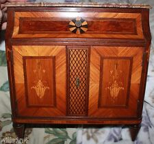 Miniature French Marble Top 19th Century Commode 1 drawer pin wheel inlay