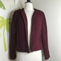 Cabi Women Burgundy Tweed Blazer Jacket Sz 6