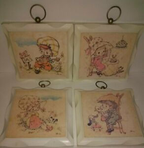 Vintage Set of 4 Homco Girls in hats Print on painted Wood Adorable