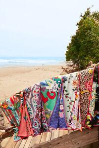 Johnny Was BLACK DREAMER Reversible 65 x 70 Beach Towel Flower Blanket Bag NEW