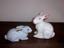 2 Cute Rabbit Easter Bunny Figurine - Ceramic - 1 1985 ENESCO Taiwan ROC
