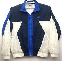 Vintage Nike Blue White Windbreaker Full Zip Waterproof Jacket Men's Size Medium