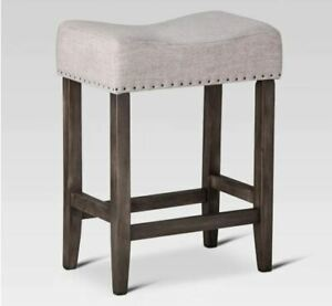 """24"""" Rumford Saddle Counter Height Barstool with Wood Leg - Threshold Lot Of 2"""