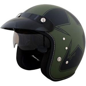 Duchinni D501 Garage Open Face Motorcycle Helmet Green Crash Lids Scooter Bike