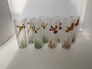 """Vintage Fowl Duck Hunting High Ball Glasses Tumblers  Set of 8. 7"""""""