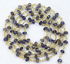 5 Feet Natural IOLITE Gemstone Faceted Beads Gold Plated Rosary Link Chain Sale.