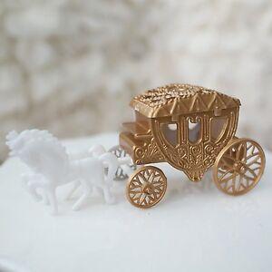 Royal Vintage Cinderella Horse and Carriage Coach Cake Topper Gold & White Decor