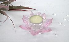 Handcrafted Crystal Lotus Flower Tea Light Holder Pink Party/Wedding Decoration