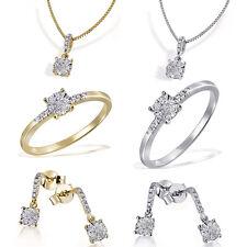 Goldmaid Damenset 585 Weiß-oder Gelbgold Ring, Collier oder Ohrringe Diamant NEU