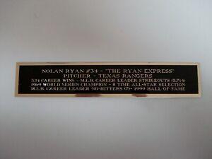Nolan Ryan Rangers Engraved Nameplate For A Baseball Jersey Case Or Photo 1.5X8
