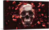 ARTCANVAS Artistic Skull Surrounded by Falling Rose Petals Canvas Art Print