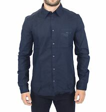 NWT $440 ERMANNO SCERVINO Blue Cotton Casual Long Sleeve Shirt Top s. IT52 / XL