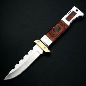 Folding Knife Pocket Hunting Survival Tactical High Carbon Steel Wood Handle EDC