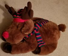 """24"""" Length Hat & Scarf (Red, Blue, Green) Rudolph the Red Nose Reindeer Plush"""