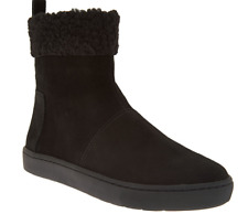 LOGO by Lori Goldstein Ankle Boots Booties Faux Fur Trim Black Suede 5.5 New