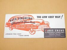 """VINTAGE 8 1/2"""" X 3 1/2"""" FIRST TRUST BANK SYRACUSE NY OLD CAR AUTO FINANCE AD"""