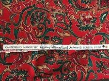 "c2 1 yd x 44"" Fabric Red Canterbury Manor Hoffman Christmas Paisley Gold Green"