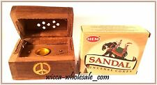 One Asst Wooden Small Coffin Box Incense Burner & 1 Box Of Sandal Cone Incense