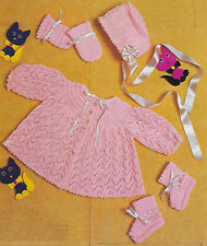 """Baby matinee jacket, bonnet, bootees,mittens knitting pattern 19""""-20"""" 4 ply143"""