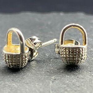 Vintage 14k White Gold Stud Post Earrings Baskets Abstract