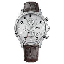 HUGO BOSS Uhr 1512447 Herren Chronograph Leder Braun Armbanduhr Analog Datum NEU