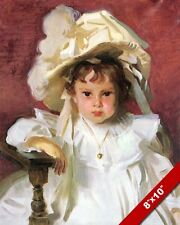 YOUNG GIRL W HAT BROWN HAIR IN WHITE DRESS OIL PAINTING ART PRINT ON REAL CANVAS
