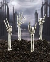 Skeleton Hand Symbol Arm Stakes Outdoor Decor Yard Art Rock On Halloween Props