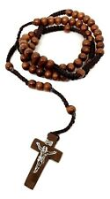 Wooden Rosary Bead Necklace The Nun Cross Crucifix Dark Brown Genuine Quality