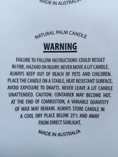 Candle Warning Labels - Palm Candles - Free Postage